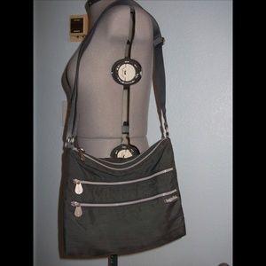 Baggallini Grey 4 Pocket Sac Crossbody Bag Purse